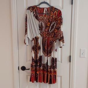 3/4 Sleeve Deep V-Neck Dress